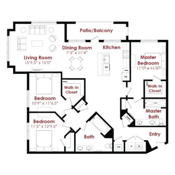 Apartment 1-010 floor plan